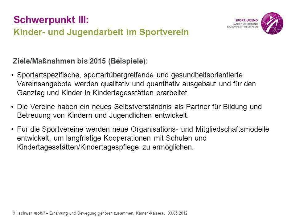 9 | schwer mobil – Ernährung und Bewegung gehören zusammen, Kamen-Kaiserau 03.05.2012 Schwerpunkt III: Kinder- und Jugendarbeit im Sportverein Ziele/M