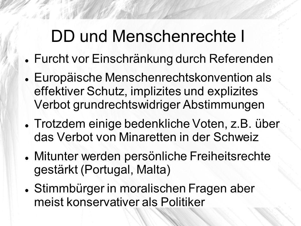 DD und Menschenrechte I Furcht vor Einschränkung durch Referenden Europäische Menschenrechtskonvention als effektiver Schutz, implizites und explizites Verbot grundrechtswidriger Abstimmungen Trotzdem einige bedenkliche Voten, z.B.