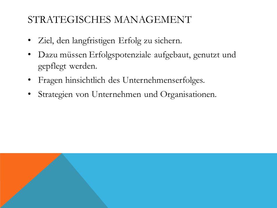 STRATEGISCHES MANAGEMENT Ziel, den langfristigen Erfolg zu sichern.