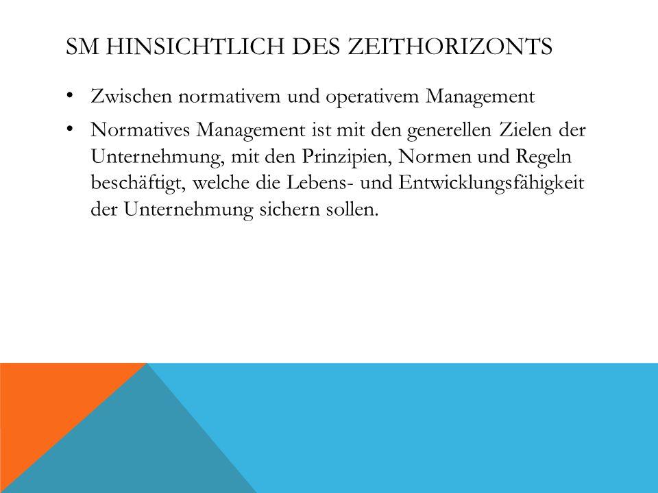 SM HINSICHTLICH DES ZEITHORIZONTS Zwischen normativem und operativem Management Normatives Management ist mit den generellen Zielen der Unternehmung, mit den Prinzipien, Normen und Regeln beschäftigt, welche die Lebens- und Entwicklungsfähigkeit der Unternehmung sichern sollen.