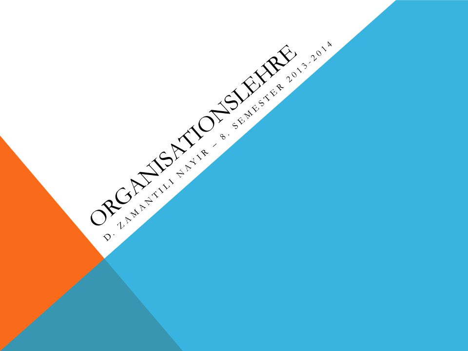 ORGANISATIONSLEHRE D. ZAMANTILI NAYIR – 8. SEMESTER 2013-2014