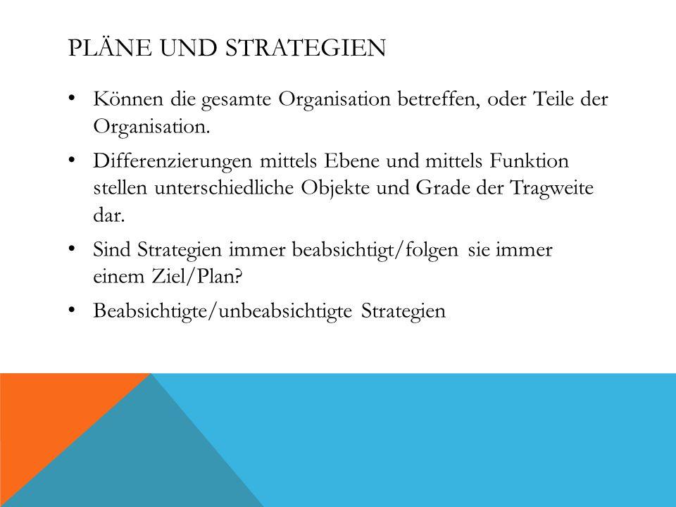 PLÄNE UND STRATEGIEN Können die gesamte Organisation betreffen, oder Teile der Organisation.