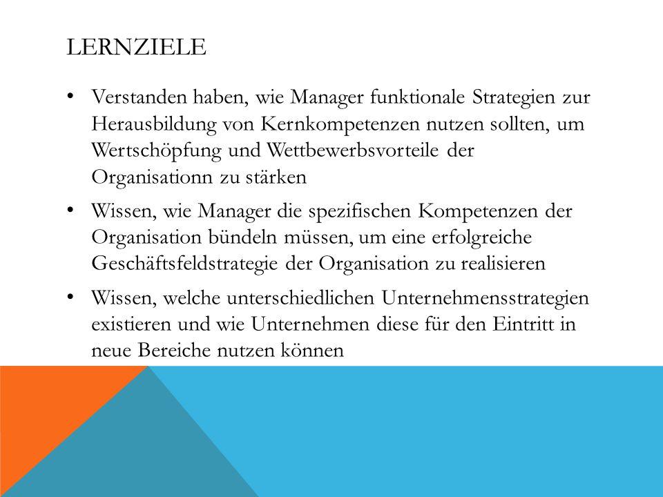 LERNZIELE Verstanden haben, wie Manager funktionale Strategien zur Herausbildung von Kernkompetenzen nutzen sollten, um Wertschöpfung und Wettbewerbsvorteile der Organisationn zu stärken Wissen, wie Manager die spezifischen Kompetenzen der Organisation bündeln müssen, um eine erfolgreiche Geschäftsfeldstrategie der Organisation zu realisieren Wissen, welche unterschiedlichen Unternehmensstrategien existieren und wie Unternehmen diese für den Eintritt in neue Bereiche nutzen können