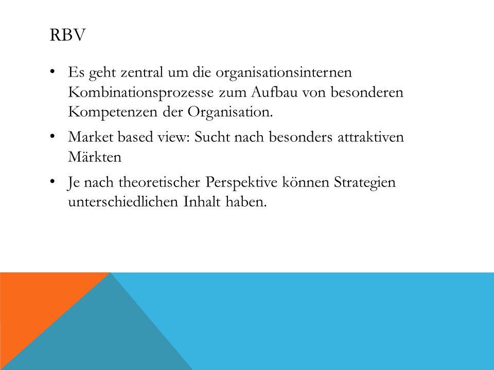RBV Es geht zentral um die organisationsinternen Kombinationsprozesse zum Aufbau von besonderen Kompetenzen der Organisation.