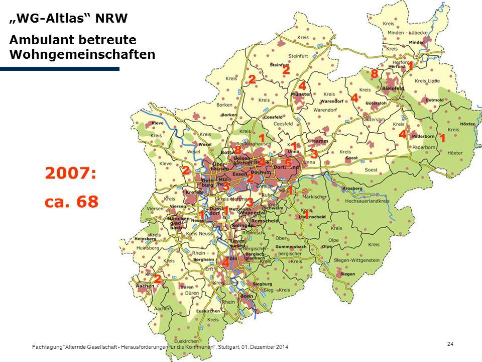 """5 3 8 2 3 4 1 4 3 2 4 1 8 4 1 1 1 2 1 1 1 2 2 4 """"WG-Altlas"""" NRW Ambulant betreute Wohngemeinschaften 2007: ca. 68 Fachtagung"""