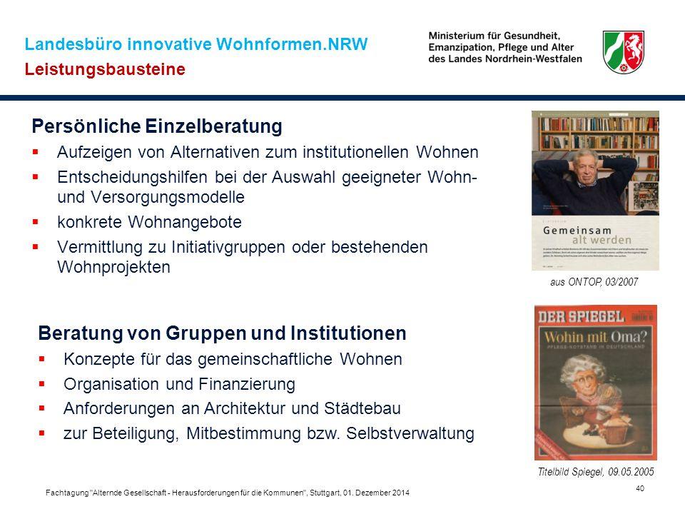 Landesbüro innovative Wohnformen.NRW Leistungsbausteine Persönliche Einzelberatung  Aufzeigen von Alternativen zum institutionellen Wohnen  Entschei
