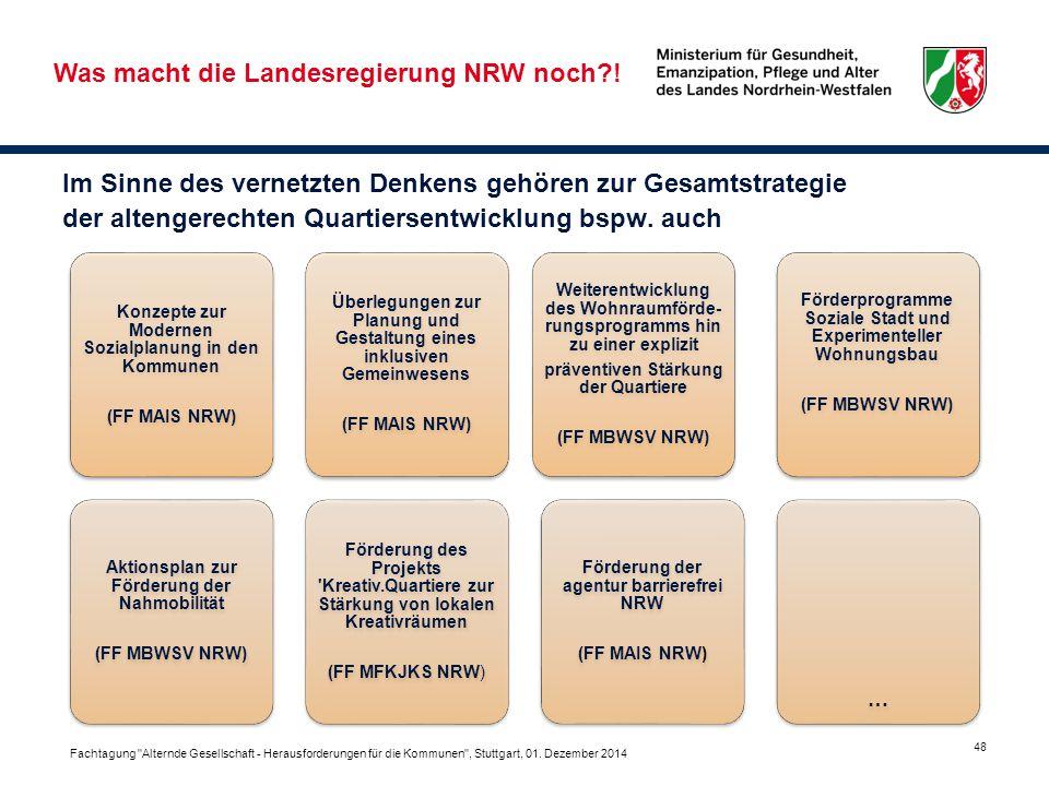 48 Im Sinne des vernetzten Denkens gehören zur Gesamtstrategie der altengerechten Quartiersentwicklung bspw. auch Was macht die Landesregierung NRW no