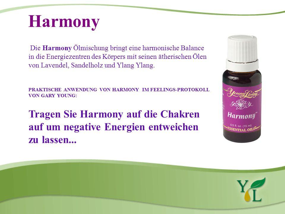 Harmony Die Harmony Ölmischung bringt eine harmonische Balance in die Energiezentren des Körpers mit seinen ätherischen Ölen von Lavendel, Sandelholz und Ylang Ylang.