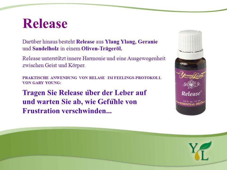 Release Darüber hinaus besteht Release aus Ylang Ylang, Geranie und Sandelholz in einem Oliven-Trägeröl.
