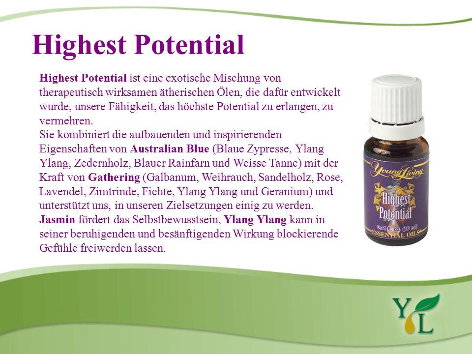Highest Potential Highest Potential ist eine exotische Mischung von therapeutisch wirksamen ätherischen Ölen, die dafür entwickelt wurde, unsere Fähigkeit, das höchste Potential zu erlangen, zu vermehren.
