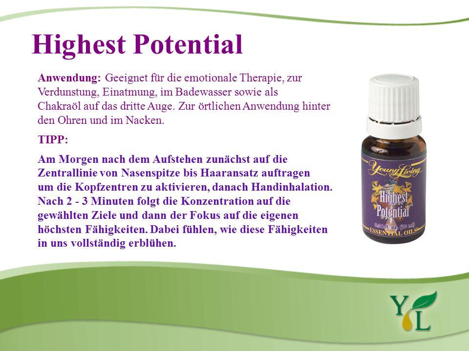 Highest Potential Anwendung: Geeignet für die emotionale Therapie, zur Verdunstung, Einatmung, im Badewasser sowie als Chakraöl auf das dritte Auge.