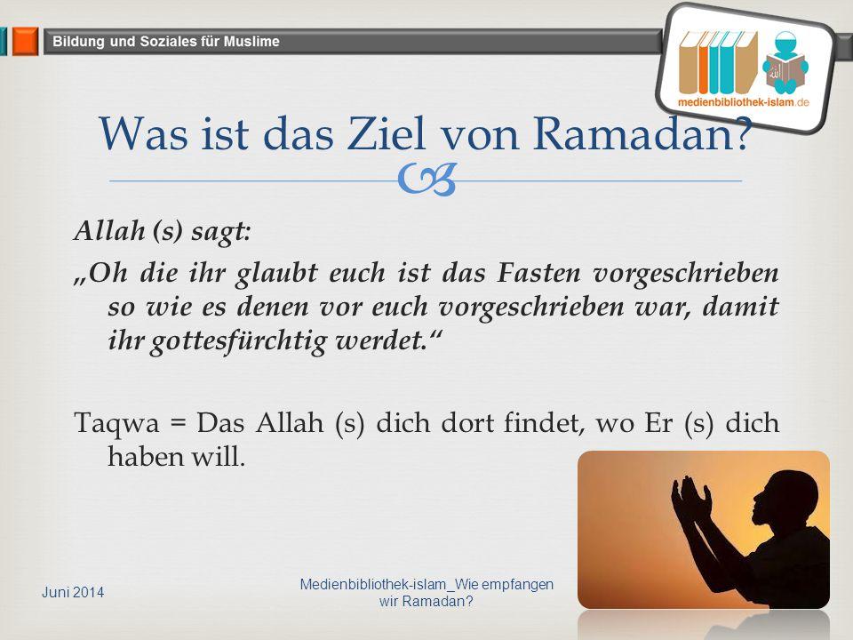 """ Allah (s) sagt: """"Oh die ihr glaubt euch ist das Fasten vorgeschrieben so wie es denen vor euch vorgeschrieben war, damit ihr gottesfürchtig werdet. Taqwa = Das Allah (s) dich dort findet, wo Er (s) dich haben will."""