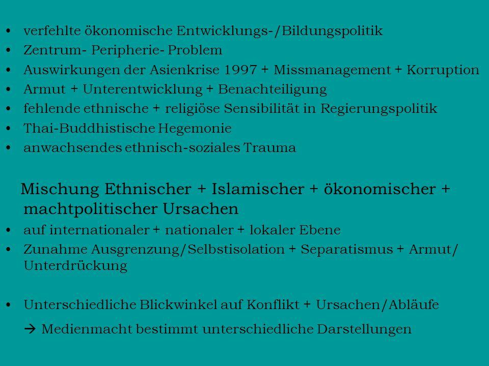 verfehlte ökonomische Entwicklungs-/Bildungspolitik Zentrum- Peripherie- Problem Auswirkungen der Asienkrise 1997 + Missmanagement + Korruption Armut + Unterentwicklung + Benachteiligung fehlende ethnische + religiöse Sensibilität in Regierungspolitik Thai-Buddhistische Hegemonie anwachsendes ethnisch-soziales Trauma Mischung Ethnischer + Islamischer + ökonomischer + machtpolitischer Ursachen auf internationaler + nationaler + lokaler Ebene Zunahme Ausgrenzung/Selbstisolation + Separatismus + Armut/ Unterdrückung Unterschiedliche Blickwinkel auf Konflikt + Ursachen/Abläufe  Medienmacht bestimmt unterschiedliche Darstellungen