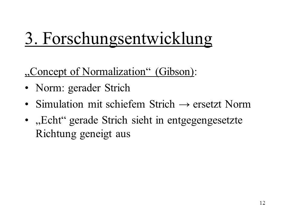"""12 3. Forschungsentwicklung """"Concept of Normalization"""" (Gibson): Norm: gerader Strich Simulation mit schiefem Strich → ersetzt Norm """"Echt"""" gerade Stri"""