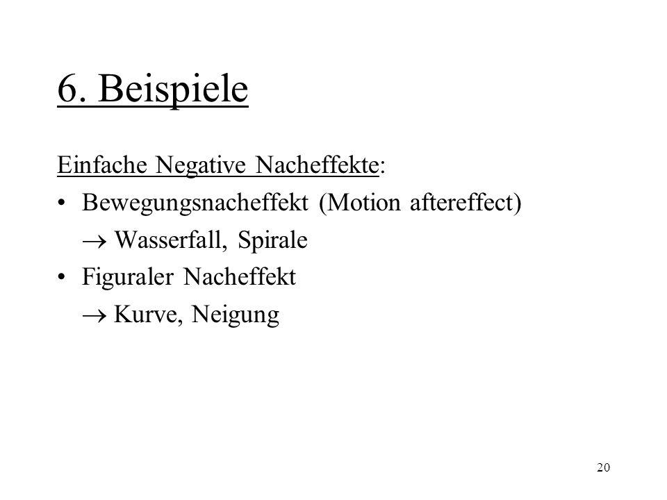 20 6. Beispiele Einfache Negative Nacheffekte: Bewegungsnacheffekt (Motion aftereffect)  Wasserfall, Spirale Figuraler Nacheffekt  Kurve, Neigung
