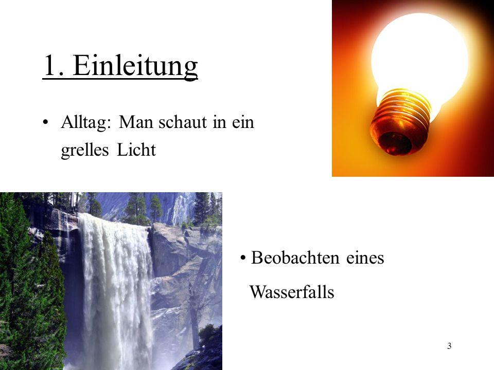 3 1. Einleitung Alltag: Man schaut in ein grelles Licht Beobachten eines Wasserfalls