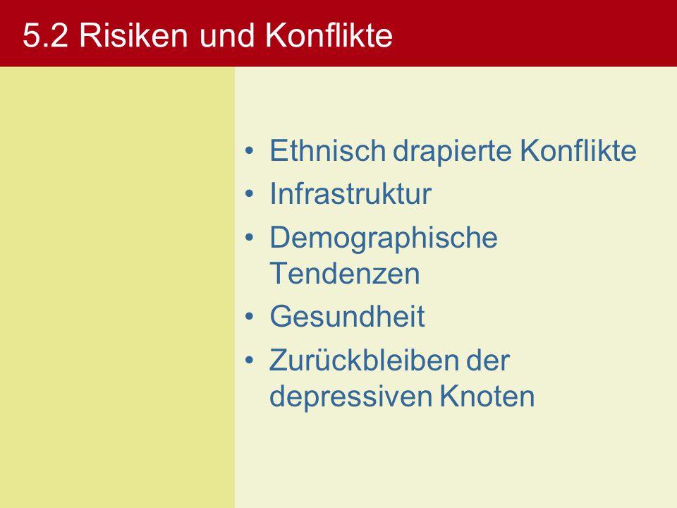 5.2 Risiken und Konflikte Ethnisch drapierte Konflikte Infrastruktur Demographische Tendenzen Gesundheit Zurückbleiben der depressiven Knoten
