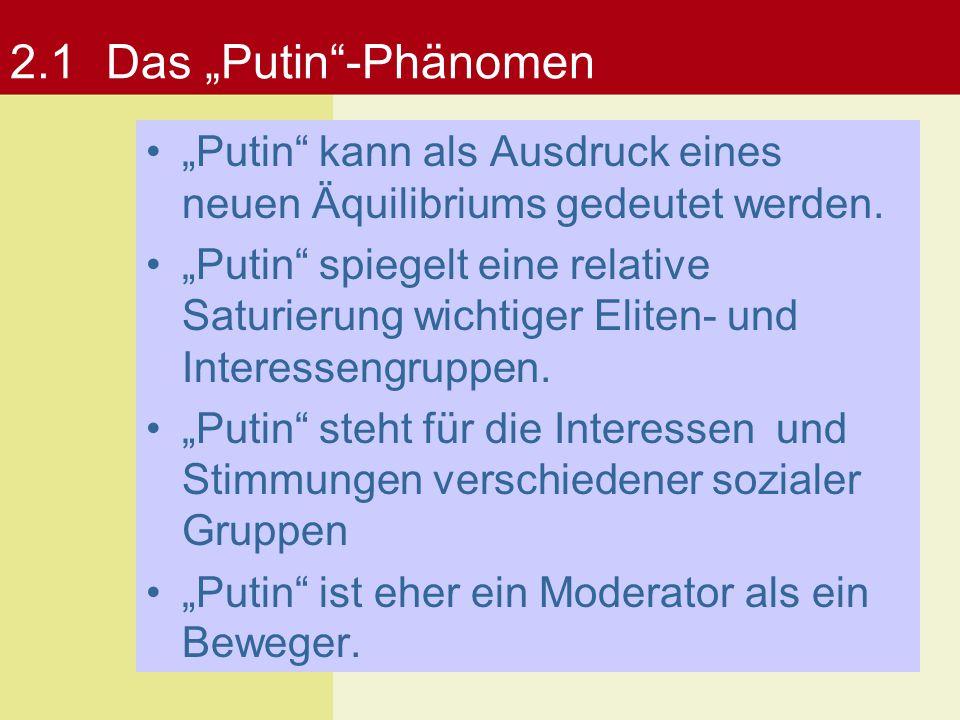 """2.1Das """"Putin""""-Phänomen """"Putin"""" kann als Ausdruck eines neuen Äquilibriums gedeutet werden. """"Putin"""" spiegelt eine relative Saturierung wichtiger Elite"""