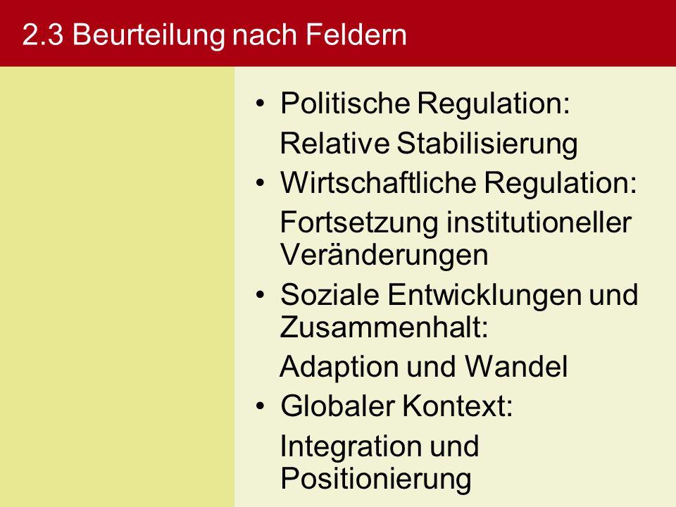 2.3 Beurteilung nach Feldern Politische Regulation: Relative Stabilisierung Wirtschaftliche Regulation: Fortsetzung institutioneller Veränderungen Soz
