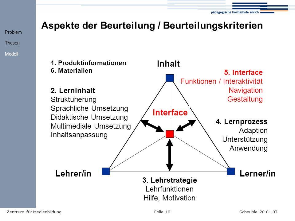 Scheuble 20.01.07Zentrum für MedienbildungFolie 10 Aspekte der Beurteilung / Beurteilungskriterien Inhalt Lerner/in Lehrer/in 5.
