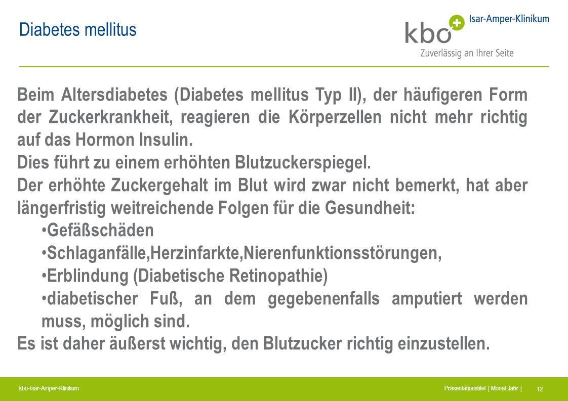 kbo-Isar-Amper-Klinikum Präsentationstitel | Monat Jahr | 12 Diabetes mellitus Beim Altersdiabetes (Diabetes mellitus Typ II), der häufigeren Form der