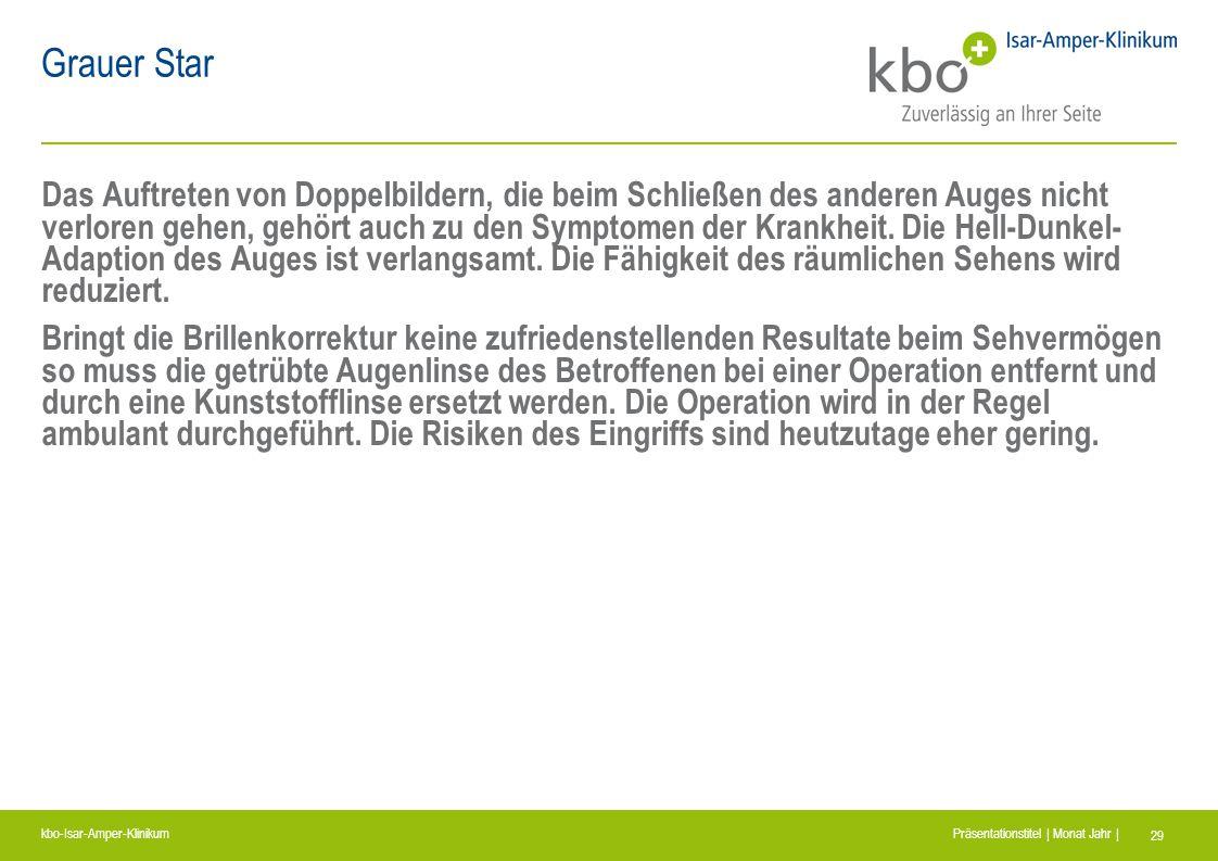 kbo-Isar-Amper-Klinikum Präsentationstitel | Monat Jahr | 29 Grauer Star Das Auftreten von Doppelbildern, die beim Schließen des anderen Auges nicht v