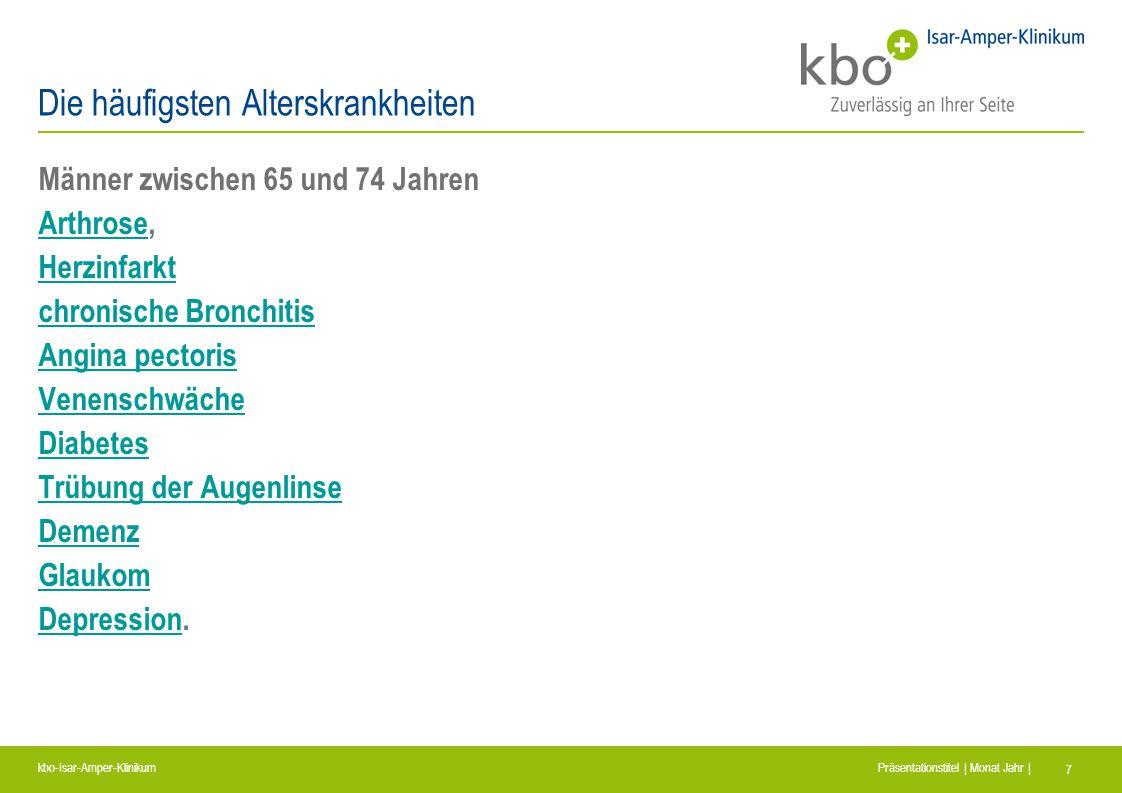 kbo-Isar-Amper-Klinikum Präsentationstitel | Monat Jahr | 7 Die häufigsten Alterskrankheiten Männer zwischen 65 und 74 Jahren ArthroseArthrose, Herzin