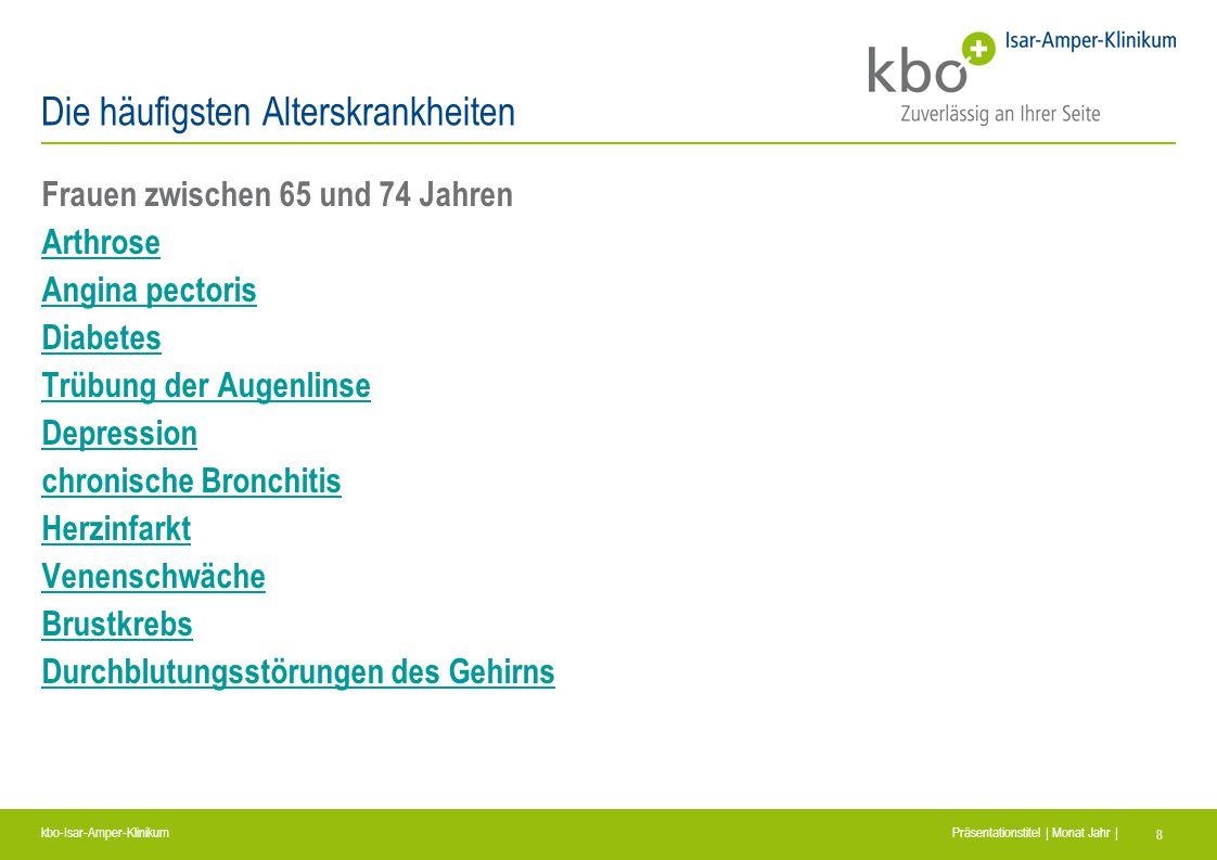 kbo-Isar-Amper-Klinikum Präsentationstitel | Monat Jahr | 8 Die häufigsten Alterskrankheiten Frauen zwischen 65 und 74 Jahren Arthrose Angina pectoris