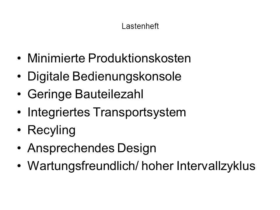 Lastenheft Minimierte Produktionskosten Digitale Bedienungskonsole Geringe Bauteilezahl Integriertes Transportsystem Recyling Ansprechendes Design Wartungsfreundlich/ hoher Intervallzyklus