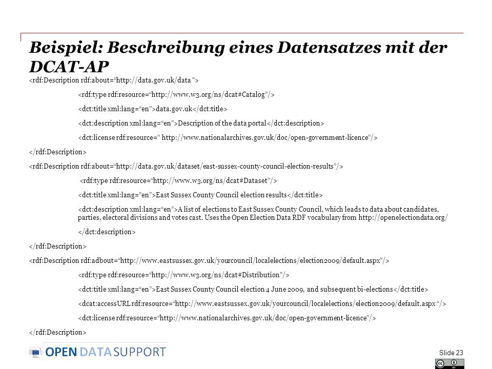 Beispiel: Beschreibung eines Datensatzes mit der DCAT-AP data.gov.uk Description of the data portal East Sussex County Council election results A list of elections to East Sussex County Council, which leads to data about candidates, parties, electoral divisions and votes cast.