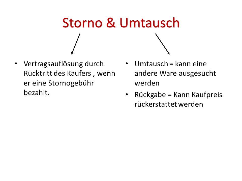 Storno & Umtausch Vertragsauflösung durch Rücktritt des Käufers, wenn er eine Stornogebühr bezahlt.