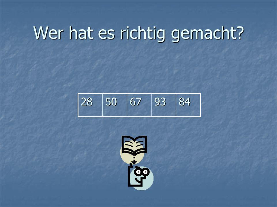Das Spiel «Die schnellsten Jeder bekommt ein Blatt mit Ziffern oder Zahlwörtern.