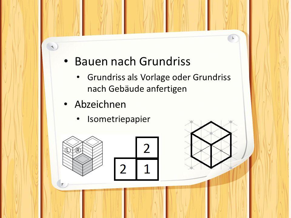 Bauen nach Grundriss Grundriss als Vorlage oder Grundriss nach Gebäude anfertigen Abzeichnen Isometriepapier