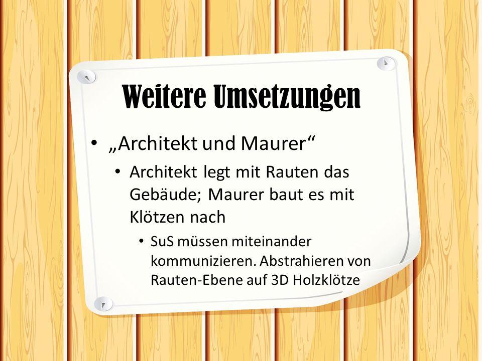 """Weitere Umsetzungen """"Architekt und Maurer Architekt legt mit Rauten das Gebäude; Maurer baut es mit Klötzen nach SuS müssen miteinander kommunizieren."""
