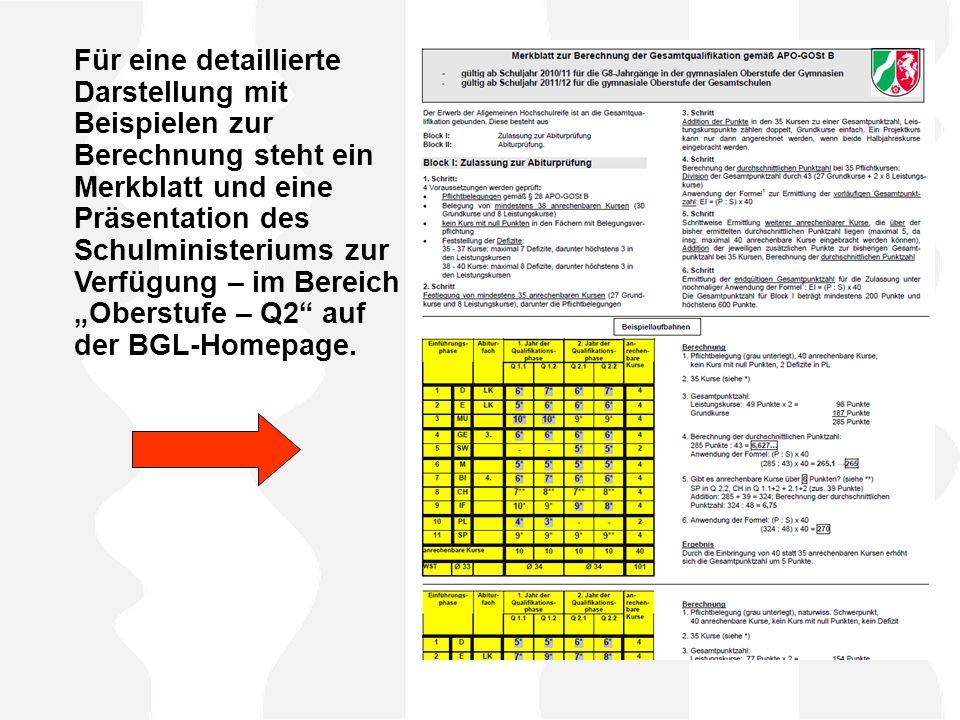 """Für eine detaillierte Darstellung mit Beispielen zur Berechnung steht ein Merkblatt und eine Präsentation des Schulministeriums zur Verfügung – im Bereich """"Oberstufe – Q2 auf der BGL-Homepage."""