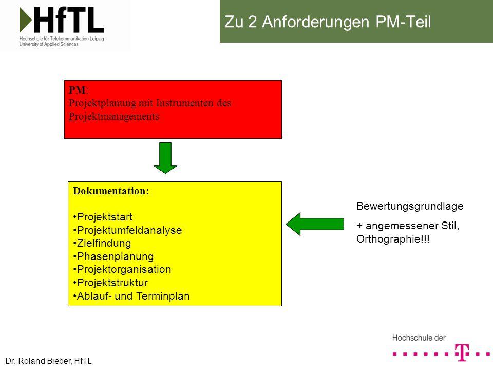 Zu 2 Anforderungen PM-Teil Dokumentation: Projektstart Projektumfeldanalyse Zielfindung Phasenplanung Projektorganisation Projektstruktur Ablauf- und