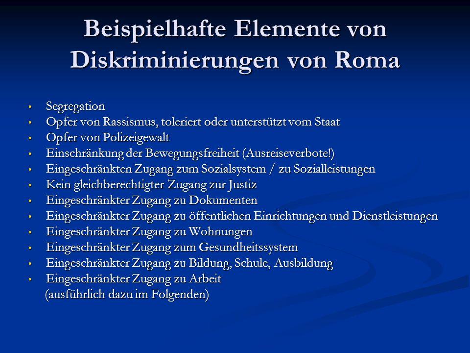 Beispielhafte Elemente von Diskriminierungen von Roma Segregation Segregation Opfer von Rassismus, toleriert oder unterstützt vom Staat Opfer von Rass