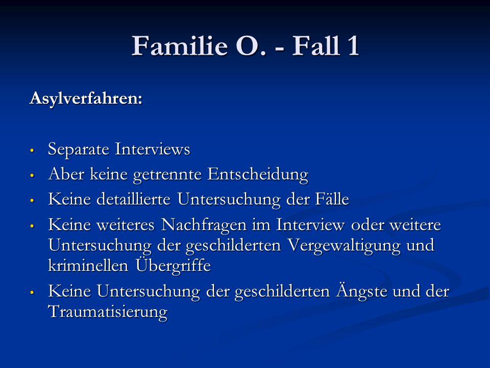 Familie O. - Fall 1 Asylverfahren: Separate Interviews Separate Interviews Aber keine getrennte Entscheidung Aber keine getrennte Entscheidung Keine d