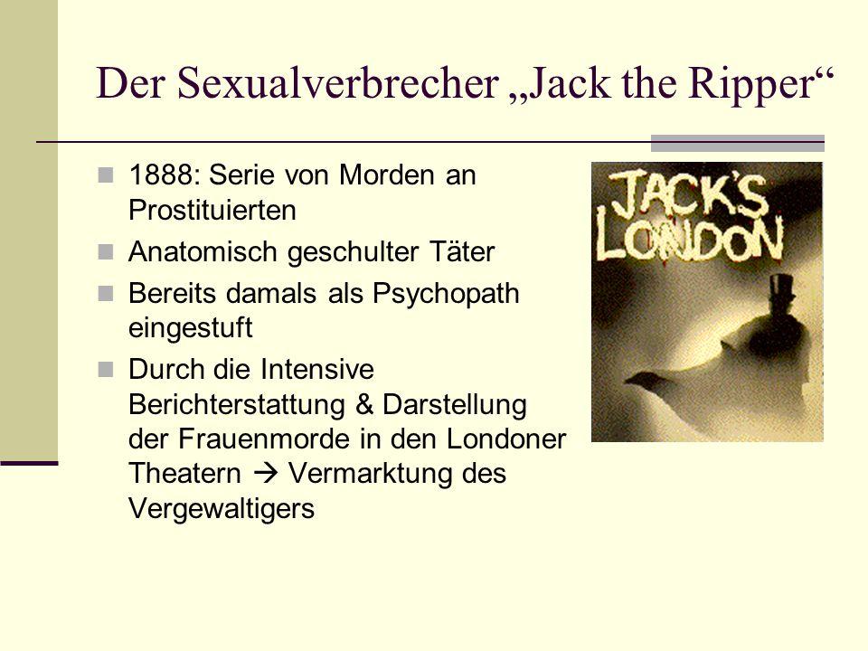 """Der Sexualverbrecher """"Jack the Ripper 1888: Serie von Morden an Prostituierten Anatomisch geschulter Täter Bereits damals als Psychopath eingestuft Durch die Intensive Berichterstattung & Darstellung der Frauenmorde in den Londoner Theatern  Vermarktung des Vergewaltigers"""