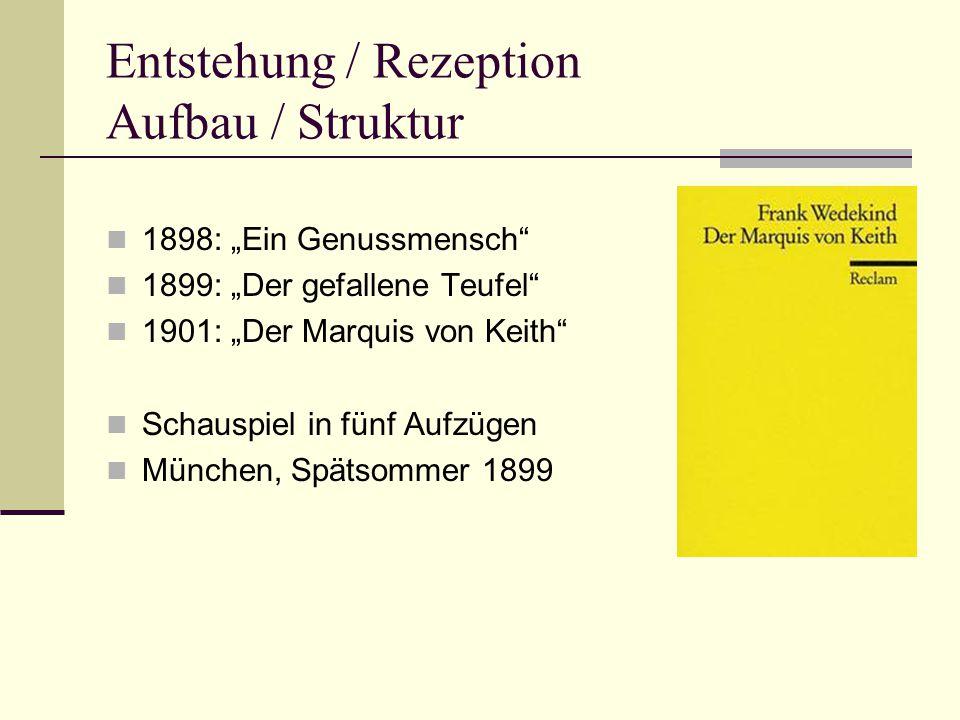 """Entstehung / Rezeption Aufbau / Struktur 1898: """"Ein Genussmensch 1899: """"Der gefallene Teufel 1901: """"Der Marquis von Keith Schauspiel in fünf Aufzügen München, Spätsommer 1899"""