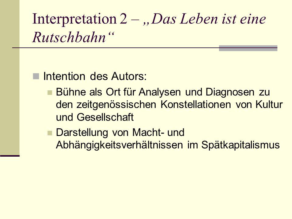 """Interpretation 2 – """"Das Leben ist eine Rutschbahn Intention des Autors: Bühne als Ort für Analysen und Diagnosen zu den zeitgenössischen Konstellationen von Kultur und Gesellschaft Darstellung von Macht- und Abhängigkeitsverhältnissen im Spätkapitalismus"""