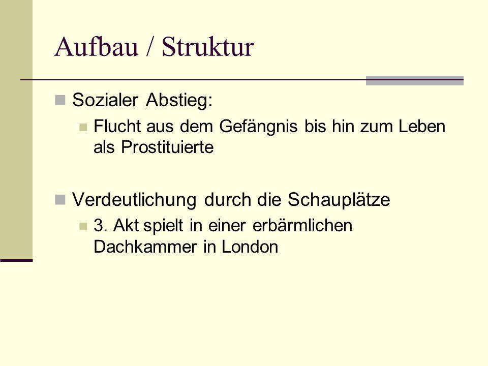 Aufbau / Struktur Sozialer Abstieg: Flucht aus dem Gefängnis bis hin zum Leben als Prostituierte Verdeutlichung durch die Schauplätze 3.