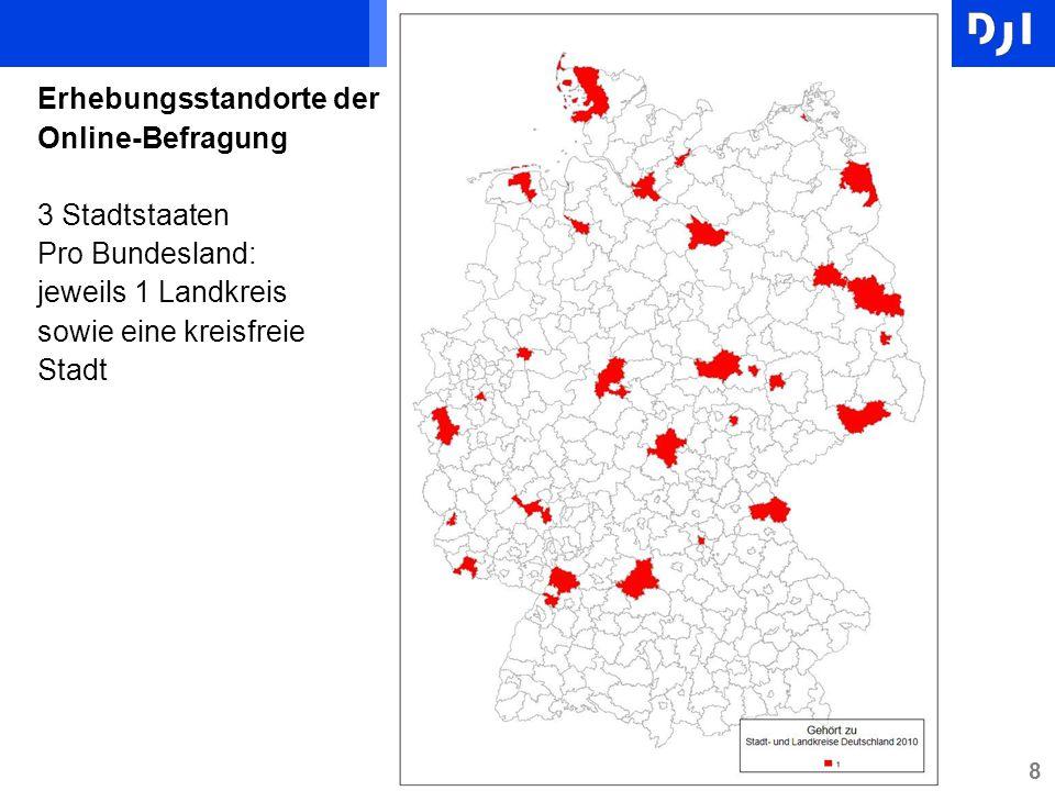 8 Erhebungsstandorte der Online-Befragung 3 Stadtstaaten Pro Bundesland: jeweils 1 Landkreis sowie eine kreisfreie Stadt