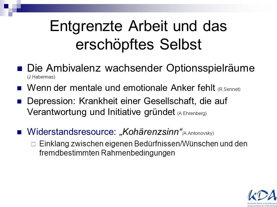 Entgrenzte Arbeit und das erschöpftes Selbst Die Ambivalenz wachsender Optionsspielräume (J.Habermas) Wenn der mentale und emotionale Anker fehlt (R.S