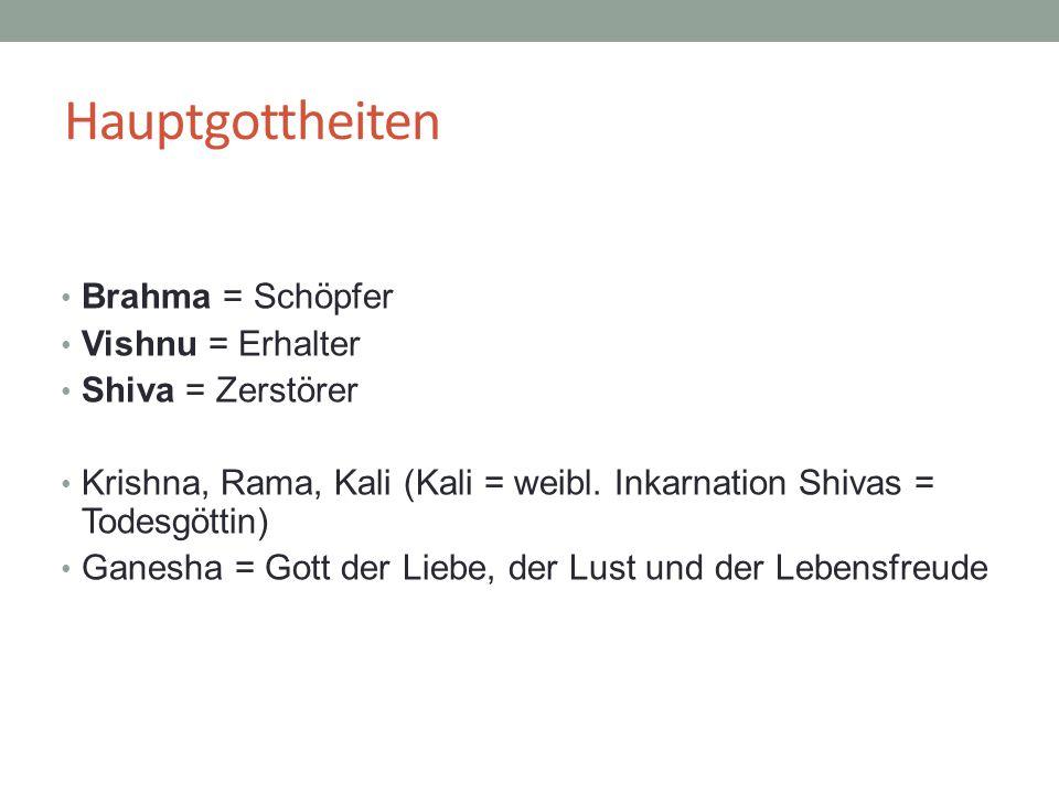 Hauptgottheiten Brahma = Schöpfer Vishnu = Erhalter Shiva = Zerstörer Krishna, Rama, Kali (Kali = weibl. Inkarnation Shivas = Todesgöttin) Ganesha = G