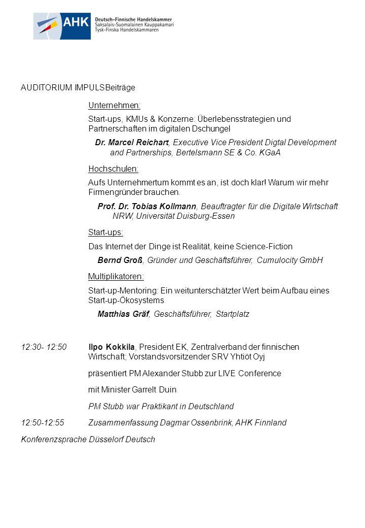 13.00- 15.00 UhrGemeinsame Flying Lunch & Networking Cafe mit Präsentationen Mit deutschen und finnischen Unternehmen mit Live Chats für 25 IHKs in Deutschland Ab 15.OO AHK ++/ SPEZAL : Transfer nach Brüssel 17.30 – 22.30 Uhr Brüssel, EU Parlament An Networking Evening mit Einladung des stellv.