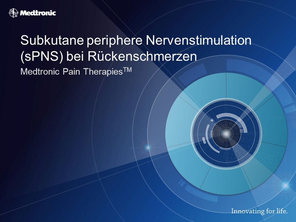 Subkutane periphere Nervenstimulation (sPNS) bei Rückenschmerzen Medtronic Pain Therapies TM