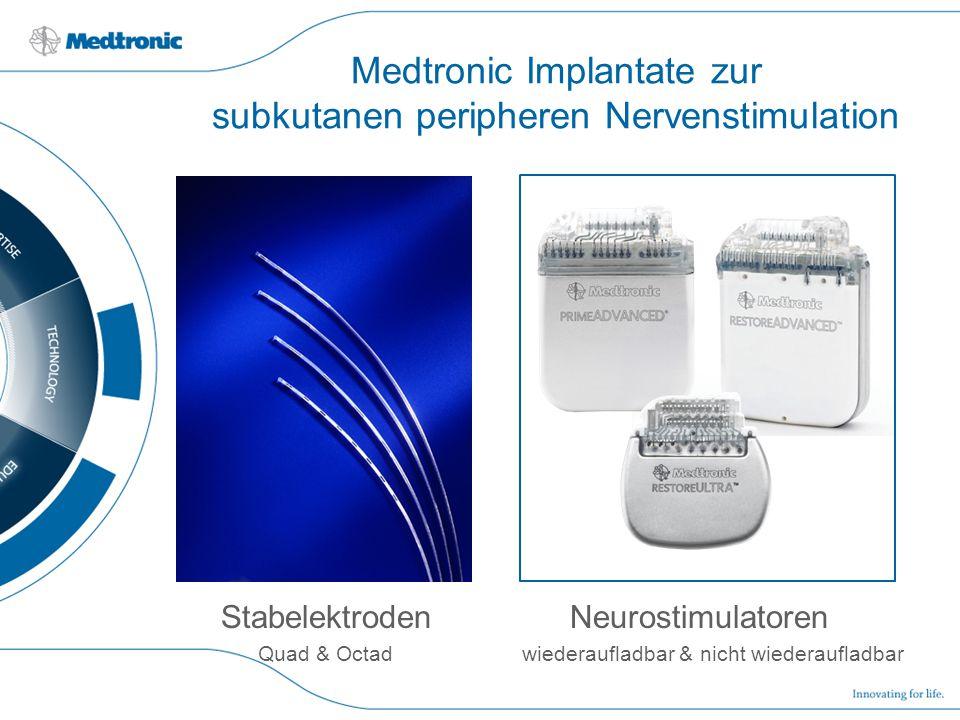 Medtronic Implantate zur subkutanen peripheren Nervenstimulation Stabelektroden Neurostimulatoren Quad & Octad wiederaufladbar & nicht wiederaufladbar