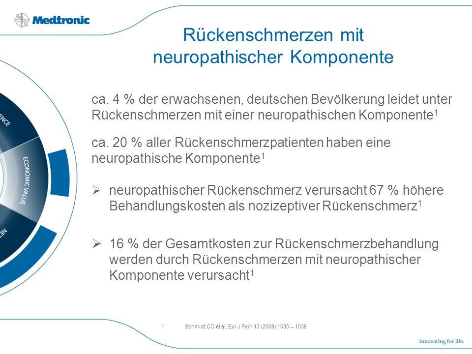 Rückenschmerzen mit neuropathischer Komponente ca. 4 % der erwachsenen, deutschen Bevölkerung leidet unter Rückenschmerzen mit einer neuropathischen K