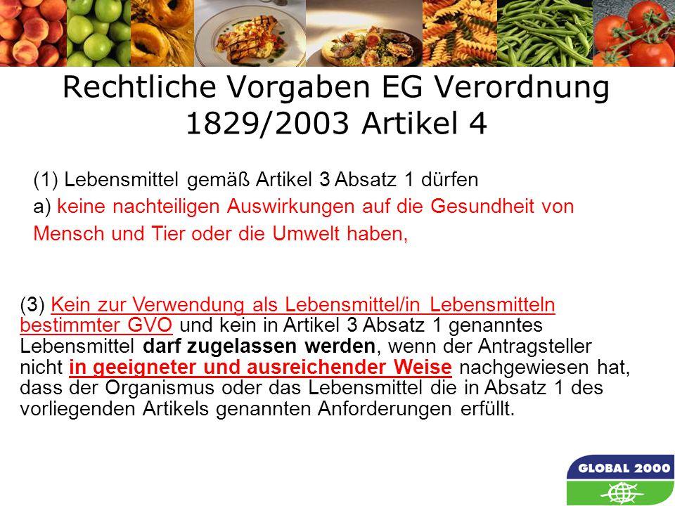 11 Rechtliche Vorgaben EG Verordnung 1829/2003 Artikel 4 Article 4 (1) Lebensmittel gemäß Artikel 3 Absatz 1 dürfen a) keine nachteiligen Auswirkungen